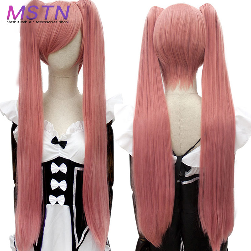 MSTN Long Straight Ponytail Clip Cosplay Lolita Wig15 Colors Red Black 3 Style High Temperature Fiber Synthetic Wigs With Bangs