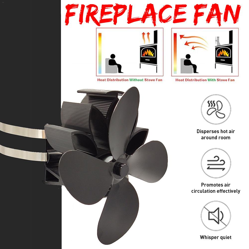 4 Blades Wall Hanging Heater Stove Fan Powered Stove Fan Log Wood Burner Eco Friendly Quiet Home Fireplace Fan