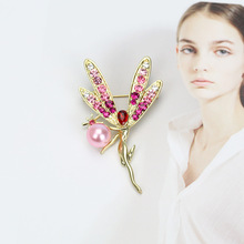 1 Pc New Elegant Pearl Brooch Creative Elf Pin Fashion Crystal Brooch Exquisite Gift qionggf water brick brooch alloy brooch branch crystal brooch elegant pearl brooch pin clothing collar pin