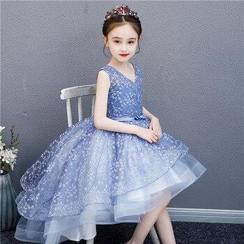Light Blue Flower Girls Dress Lace  Vintage Lace Hi -Low Flower Girls Party Dress Custom Real Photos