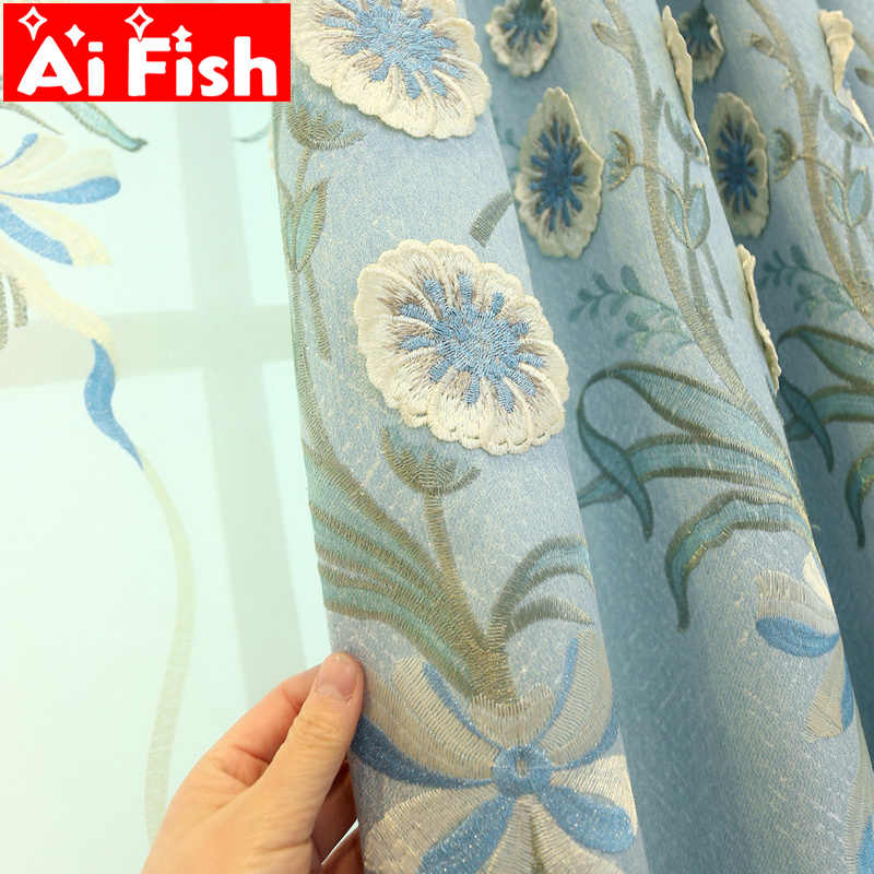 European luxury Pink Embroidery Semi-Blackout Curtain Fabric Bedroom for Living Room Bay Blue Drapes Beige Tulle Curtains M129-4