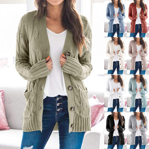 2020 New Style for Autumn and Winter Cardigan Sweater Female Europe V-Neck Single-Breasted Long-Sleeve Knitwear Coat