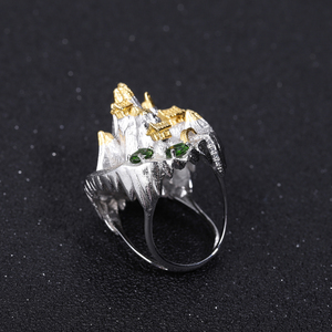Image 3 - GEMS BALLET 925 Silver Gold Plated Ring For Women Halloween Horror Story Natural Chrome Diopside Handmade Gemstone Ring Jewelry