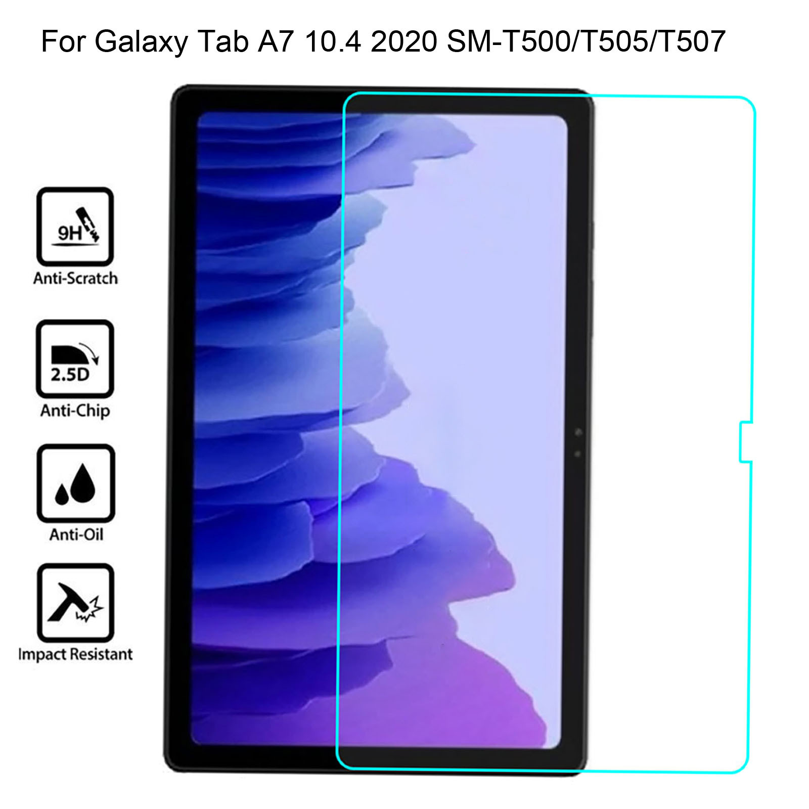 Anti-scratch bolha livre protetor de tela vidro temperado para samsung galaxy tab vidro temperado a7 10.4 2020 SM-T500/t505/t507
