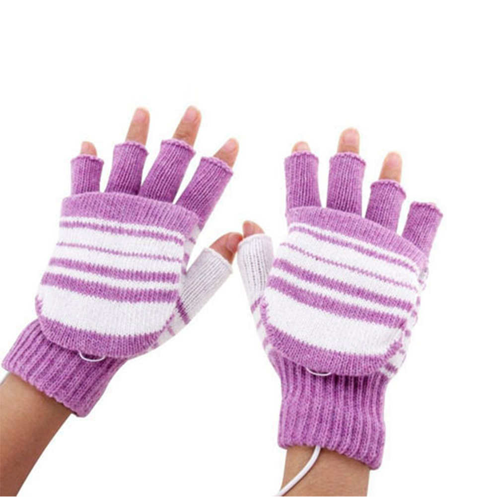 2PCS Washable With Cover USB Connection Knitting Sports Mitten Cycling Warm Practical Heating Gloves Skiing Outdoor Winter