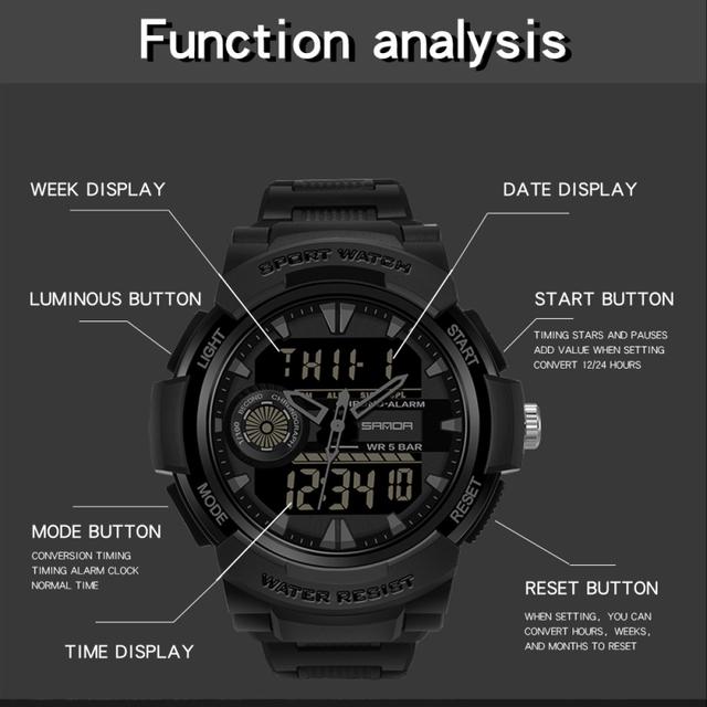SANDA Watch Men's Sport Watches Multifunctional Chronograph Waterproof Wristwatch Relogio Digital Military LED Quartz Clock