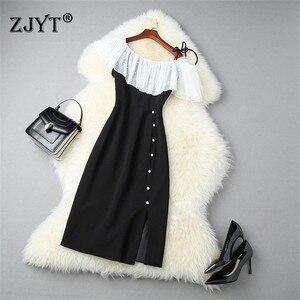 Модное дизайнерское подиумное платье, летняя одежда для женщин, элегантные Лоскутные Платья с рюшами на одно плечо, тонкие черные вечерние ...