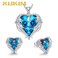 JS002 Xukim Jewelry Christmas Silver Blue Red Crystal Angle Wing Heart Necklace Earrings Jewelry Set