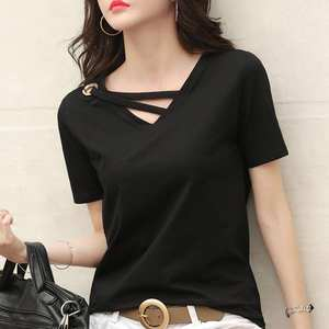 Women's Clothing Short-Sleeve T-Shirt summer   Tee-Top Casual V-Neck Solid Loose New
