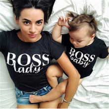 Summer Family Matching Outfits Mother Lady Son Daughter Mum T-Shirt Tops Toddler Baby Kids Girls Boys Clothes 1PCS(China)