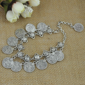 Image 3 - Antique Coin Pendant Chain Bracelet Silver Color Turkish Allah Carved Round Tag Adjustable Foot Chain Anklet