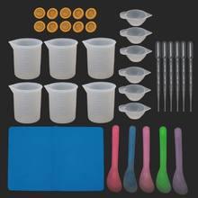 34pc reutilizável kit de resina de silicone antiaderente esteira de silicone 100ml copos de medição berços dedo resina mix copo agitar vara pipeta