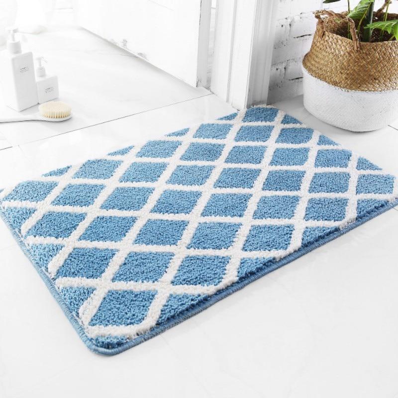 Floor Carpet Bathroom Mat Concise Geometric Patterns Absorbent Doormat Anti-Slip Carpet Foot Pad Rug Area Blanket Home Supplies
