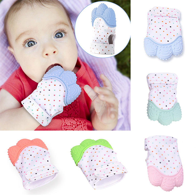 Baby Silicone Mitts Teething Mitten Glove Teether Newborn Chewable Nursing Mittens Teether Natural Stop Sucking Thumb Toy D30