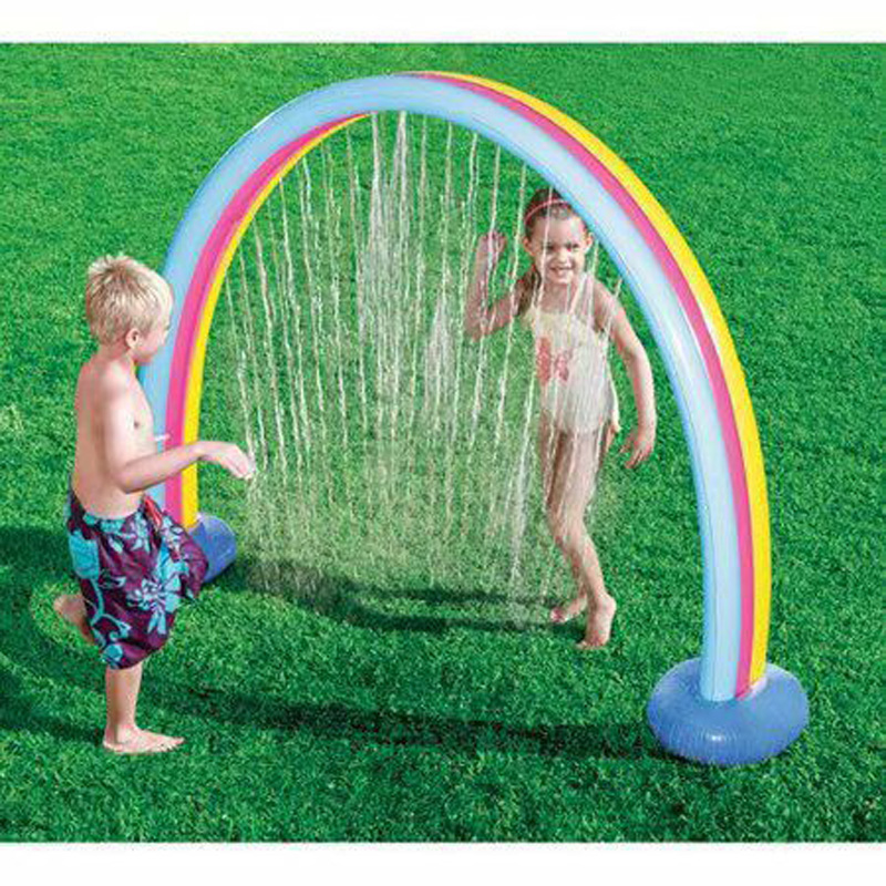 Rainbow Cloud Yard Sprinkler Giant Inflatable Archway Lawn Beach Outdoor Toys For Child Adult Baby Games Center