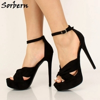Sorbern Summer Style Sandals For Women Shoes High Heel Platform Cross Strap Ankle Strap Shoes Women Size 6 Prom Heels More Color