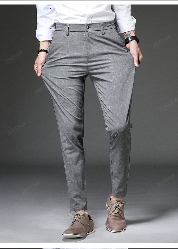 Jantour 2020 Spring New Casual Pants Men Slim Fit Plaid Fashion Gray black Trousers Male Brand Clothing business work pant 28-38 58