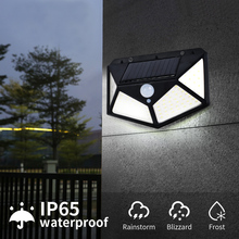 100 LED Four-Sided Solar Power Light Motion Sensor Wall Lamp 3 Modes 270 Degree Angle  Outdoor Waterproof Yard Lamps