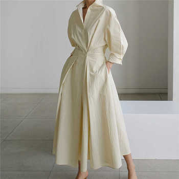 [EWQ] Korea Chic Autumn Casual Trend Women Solid New Lapel Single Button Loose Fashion Long-sleeved Shirt Dress 2021 16E1954 1
