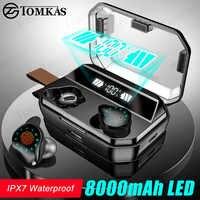 Tws 8000 mah fone de ouvido bluetooth estéreo sem fio fones à prova dwaterproof água fones com display led esporte sem fio