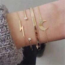 Modyle Bohemian Bracelets Set for Women Gold Color CZ Stone Moon Lightning Geometric Bangle Jewelry
