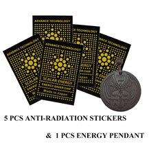 Новая модель набор 5 шт Анти-Радиационная наклейка щит и 1 шт высокоионная Лава Кулон Nacelack для здоровья тела