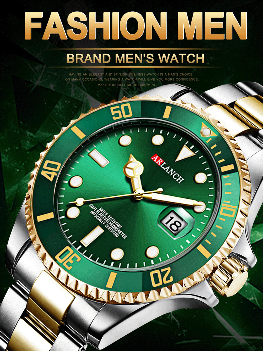 Gold Silver Green Water Ghost Stainless Steel Top Brand Luxury Rolexable GMT Submariner Sport Waterproof Classic Men Watches