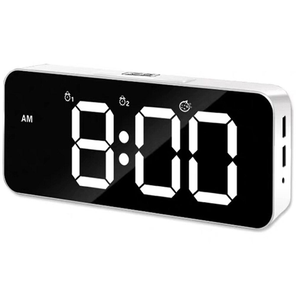 Big Digital Led Mirror Music Alarm Wall Clock Snooze Home Decoration Bedroom Desk Phone Charger Clock Sound Control Backlight(China)