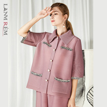 LANMREM Pleated Large Size Beige Short Jackets Lapel Sleeves New Fashion Temperament Women Spring And Autumn 2021 2E1592