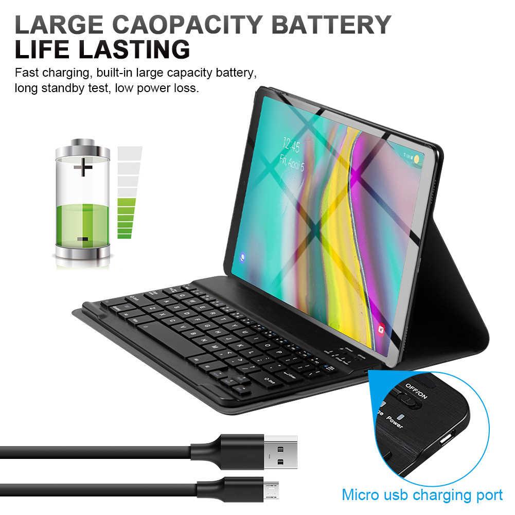 Keyboard untuk Samsung Galaxy Tab S5e 10.5 SM-720/T725 Spanyol/Jerman/Perancis/Inggris/Bluetooth Keyboard dengan kulit Case Set