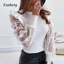 Fashion Women Spring 2020 Sexy Mesh Lace Blouse Shirt New Ro