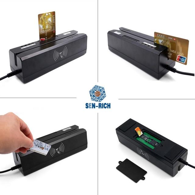 Lettore di Schede Magnetiche Professionali Lettore EMV//IC E RFID//NFC E Psam Reader E Scrittore//Encoder Programmabile Smart Card EMV con 10 Carte Bianche,Zcs160