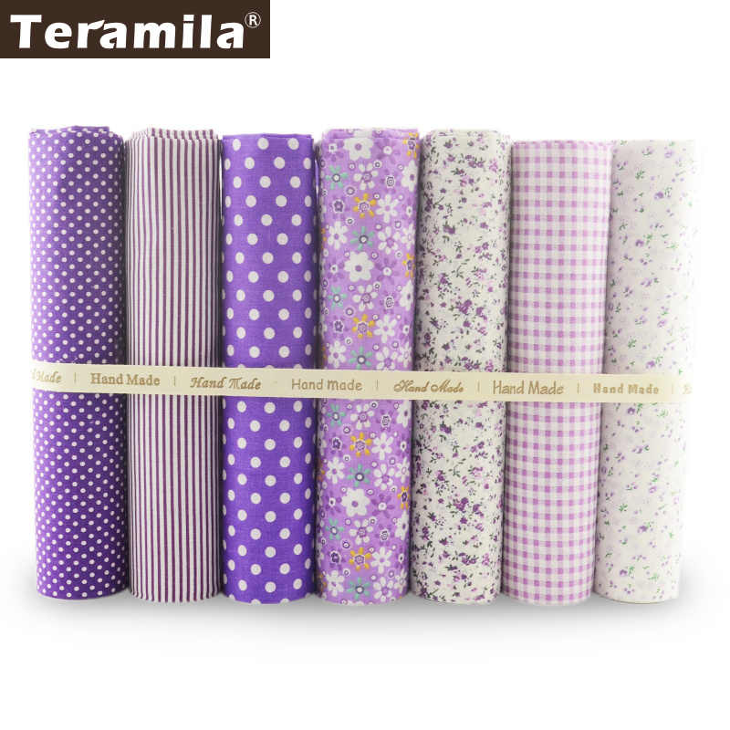 7 Pieces Beautiful Series Purple Color 100% Cotton Fabric Fat Quarters Quilting Cloth Sets Sewing for Beginner's Practice Craft