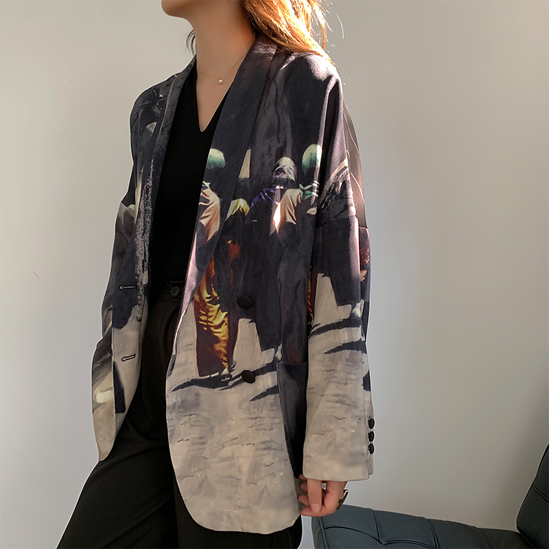 Women Casual Floral Print Pattern Blazer Jacket Femme Vintage 2019 Autumn Loose Outwear Striped Blazers Coat New Fashion