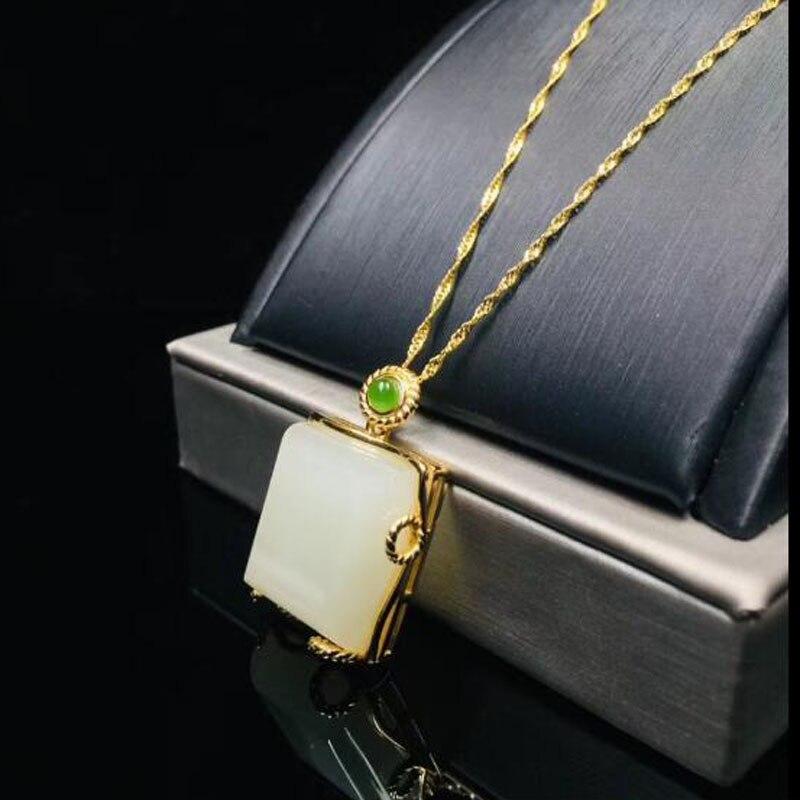 Luxe blanc Jade carré gemmes 16*18mm pendentif 925 en argent Sterling collier pour les femmes bijoux de charme