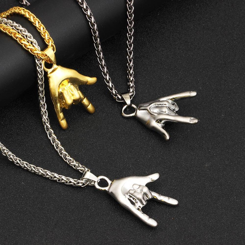 Ocidental na moda hip-hop punk rock gestos pingente colar liga criativa homem pingente colar elegante jóias