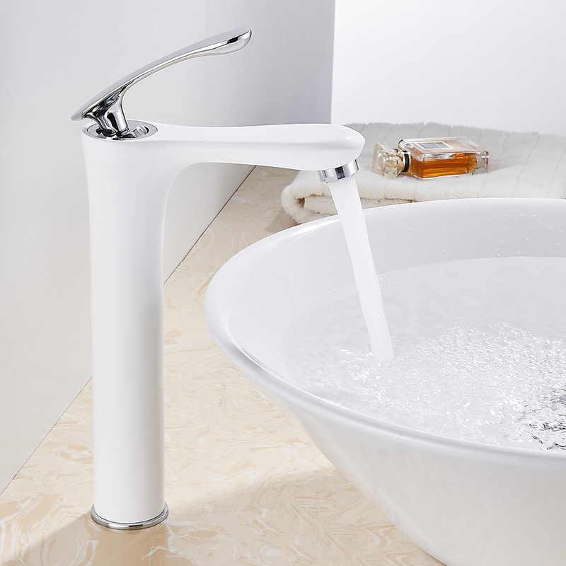 Biały łazienka kran jednouchwytowa bateria umywalkowa kran ciepłej i zimnej wody mikser kran Tap pokoju mycia twarzy ręcznie baterie nowoczesne