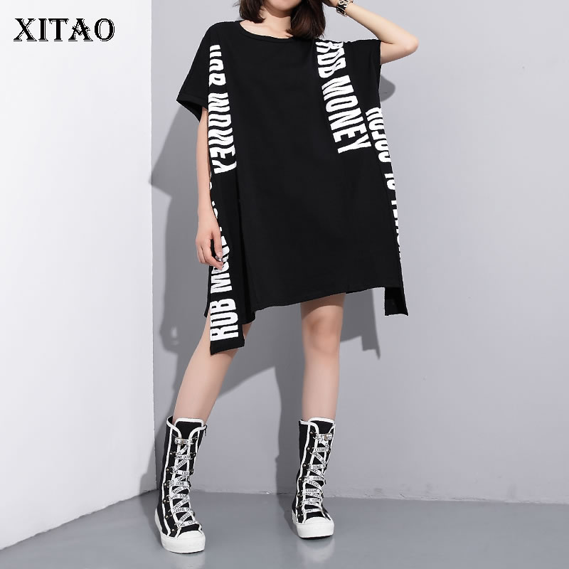 XITAO Europe Print Letter Dress Loose Solid Color Short Sleeve Fashion Street Style Women 2020 Spring Summer New Minority XJ4559(China)