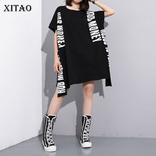 XITAO Europe Print Letter Dress Loose Solid Color Short Sleeve Fashion Street Style Women 2020 Spring Summer New Minority XJ4559