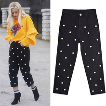 High Waist Claf-Length Pearl Beading Black Straight Women jeans Denim Pants Pant