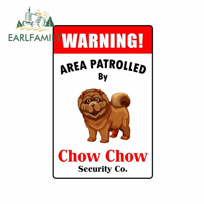 EARLFAMILY 13cm <font><b>x</b></font> 8.6cm for Patrolled By Chow Chow <font><b>Motorcycle</b></font> Waterproof Decal Vinyl Car <font><b>Stickers</b></font> DIY Scratch-proof Decoration image