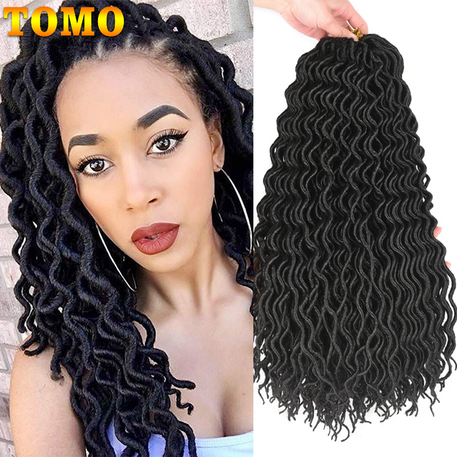 TOMO 24 Roots Curly Faux Locs Crochet Hair 18Inch Synthetic Ombre Braiding Hair Extensions For Women Crochet Braids Black Red