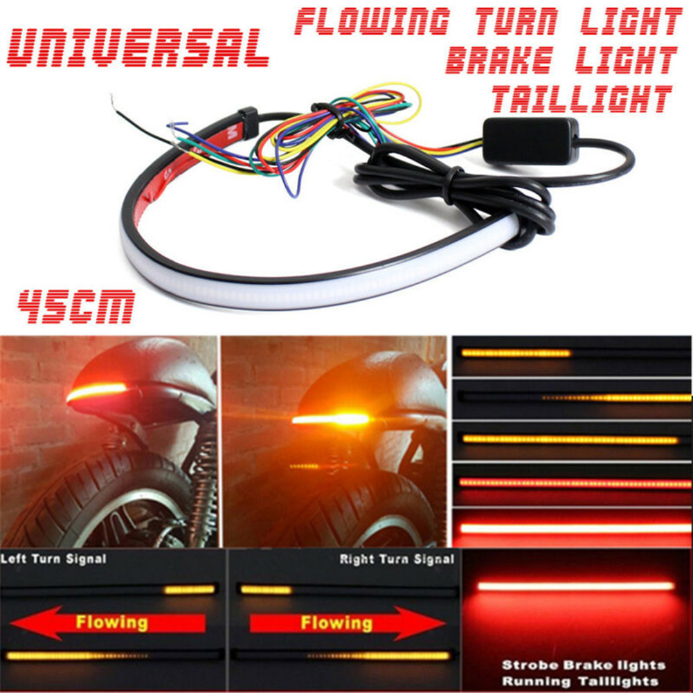 DC 12-24V Motorcycle Sequential LED Turn Signal Light Taillights Strip Motorcycle LED Light Strip Stylish Accessories