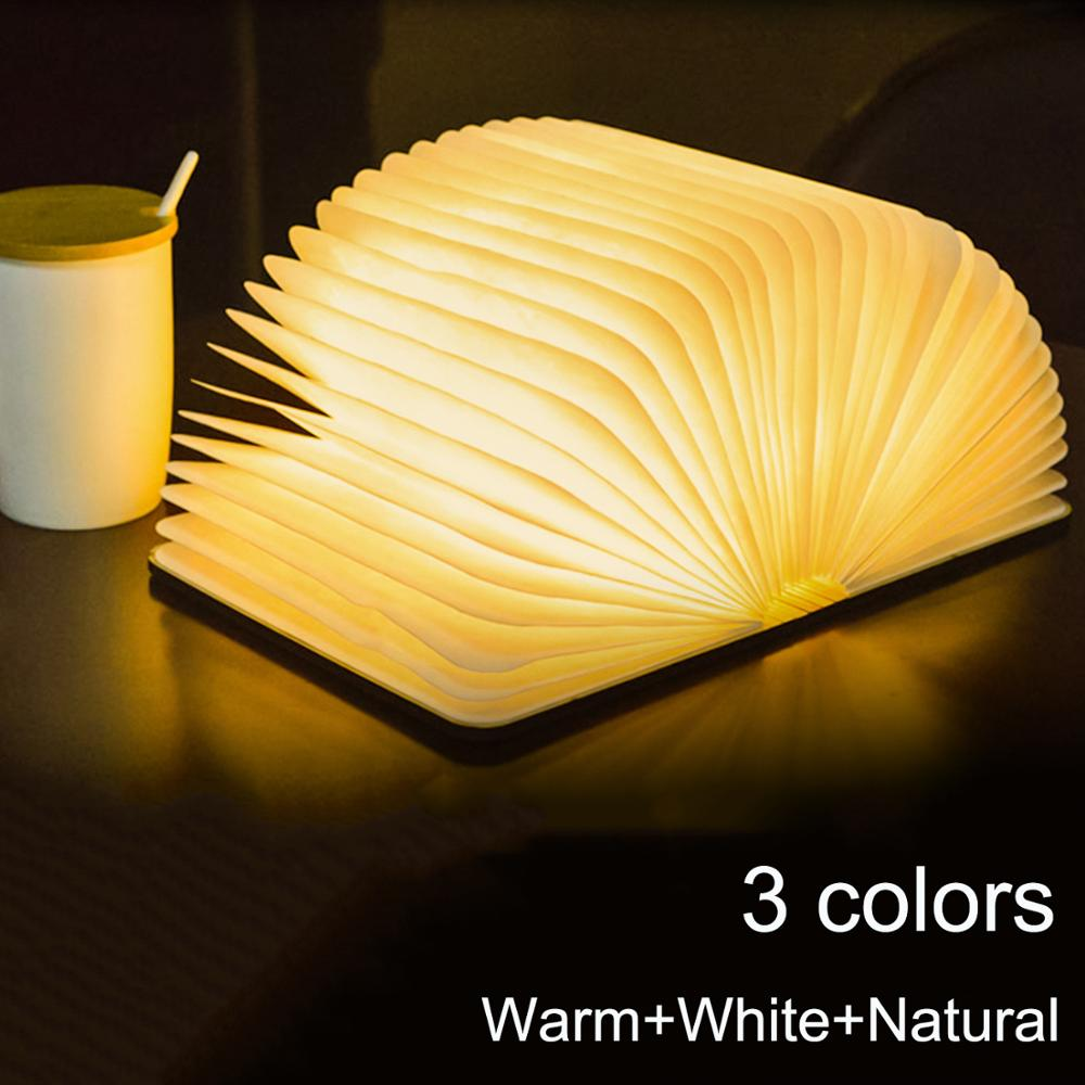 3D Wooden Book Light Portable <font><b>USB</b></font> Rechargeable Magnetic <font><b>3</b></font> Color Dimmable LED Night Light Desk Table Lamp Home Decor Dropshipping image