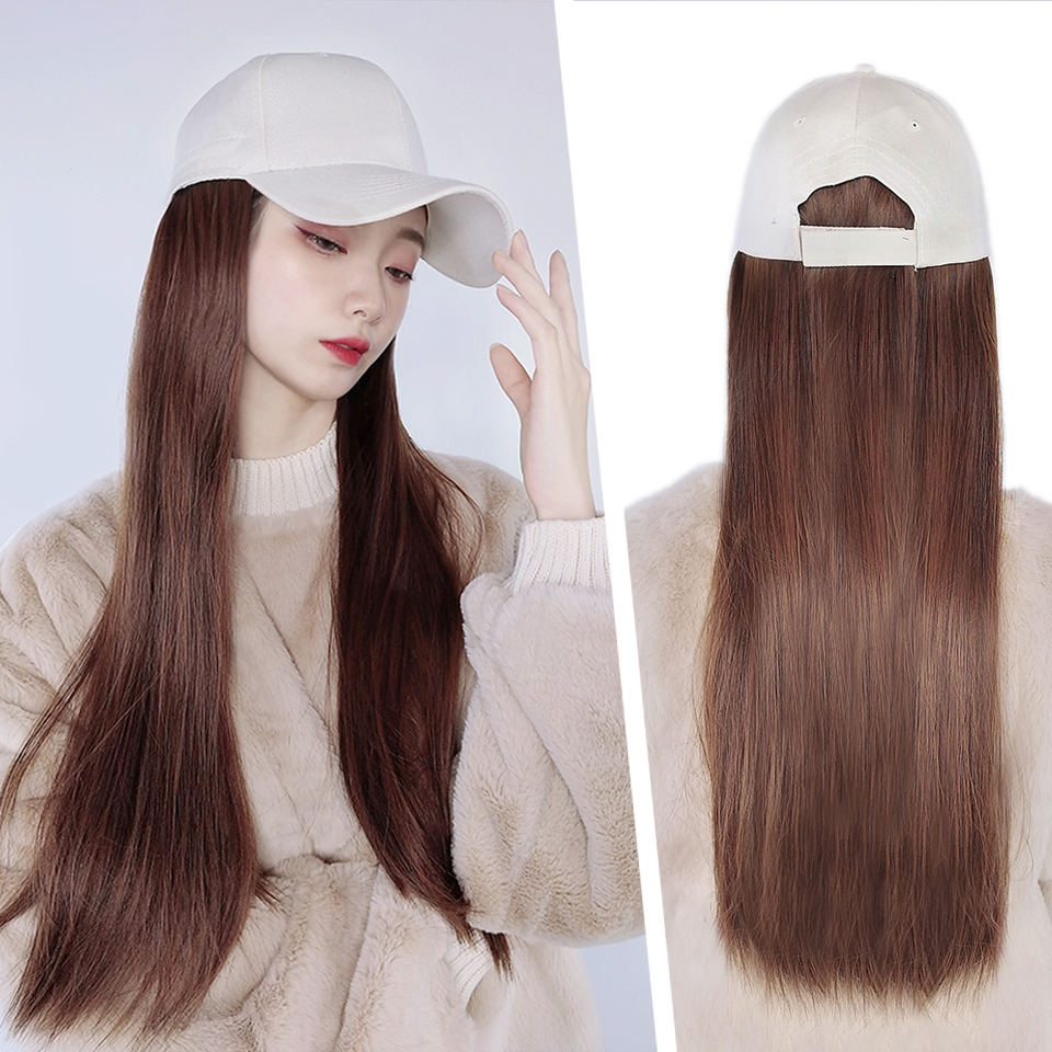 HUAYA Hat Wig Ladies Baseball Cap Long Straight Synthetic Wig Hat Hair One Piece High Temperature Fiber Wig Hat Adjustable Size