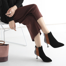 Elegant Ankle Boots For Women Fashion High Heels Ladies Autumn  Winter 2019 New Soft Sexy Brown Black