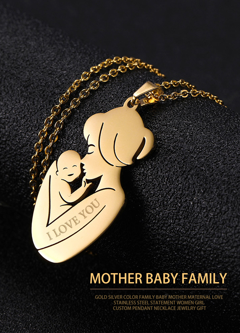 Personalized Custom Engrave Name Necklace Jewelry Family Baby Pregnant Gift For Mother Gold Color Stainless Steel Women Birth