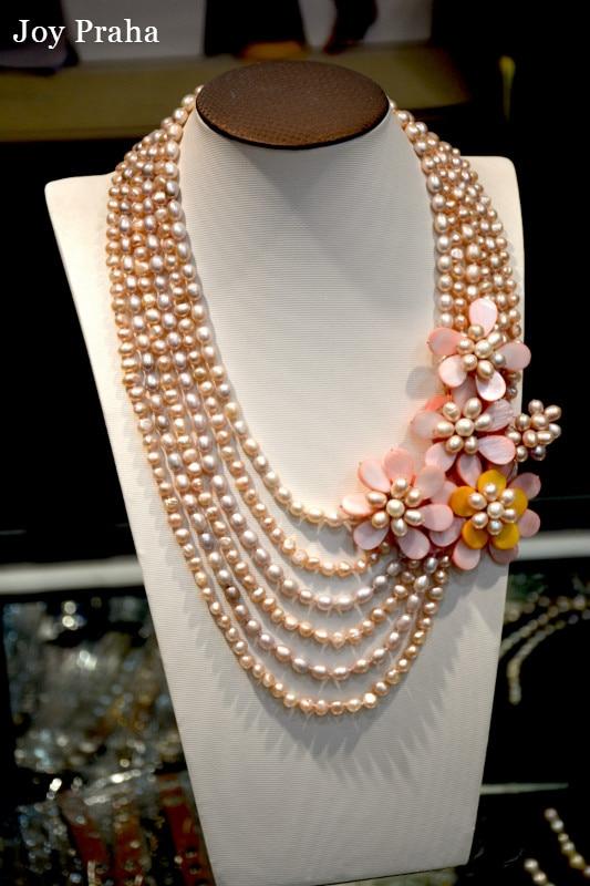 Collier de femmes de coquille de perle rose naturelle/tissé à la main populaire/livraison directe en gros