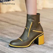 Booties Shoes Genuine-Leather Women Heels High-Chunky Ankle Winter Commuter Office Mixed-Color