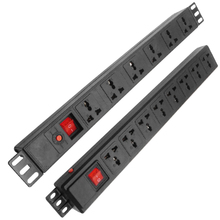 Pdu rede armário rack power strip distribuição com interruptor proteção contra surtos 6/8ac universal soquetes tomada au reino unido da ue plug